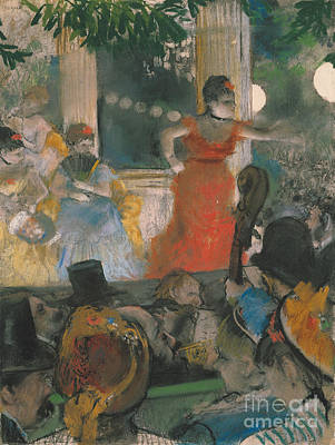 Cafes Pastel - Cafe Concert At Les Ambassadeurs by Edgar Degas