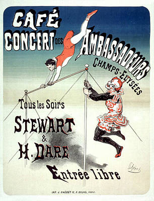 Les Ambassadeurs Drawing - Cafe Concert Des Ambassadeurs Vintage French Advertising Poster 1877 by Joy of Life Art