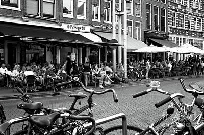 Cafe Crowds In Amsterdam Mono Art Print by John Rizzuto