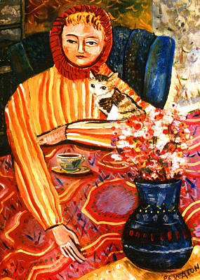Cafe Dame With A Cat Art Print by John Keaton