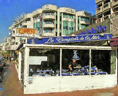 Digital Art - Cafe De La Mer Cannes by Yury Malkov