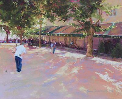 Cafe De La Place Art Print by Jeanne Rosier Smith