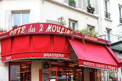 Photograph - Cafe Des 2 Moulins Paris by John Rizzuto