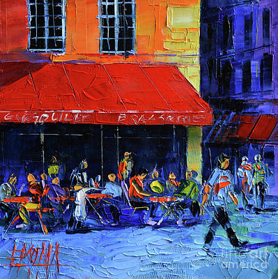 Cafe Terrace Painting - Cafe Gargouille by Mona Edulesco