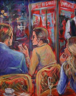 Champagne Painting - Cafe In Paris by Sonia von Walter