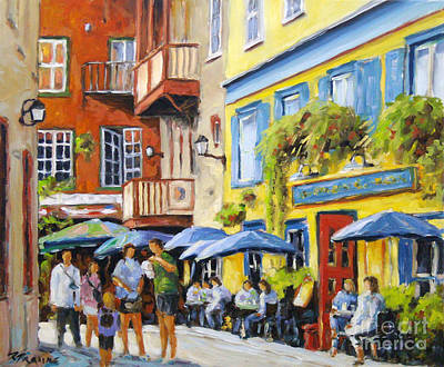 Cafe In The Old Quebec Original by Richard T Pranke