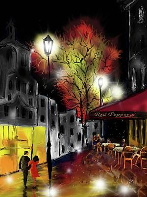 Digital Art - Cafe In The Rain by Darren Cannell