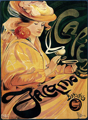 Mixed Media - Cafe Jacamo - Woman Sipping On A Cup Of Coffee - Vintage Advertising Poster by Studio Grafiikka