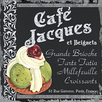 Paris Food Antique Market Painting - Cafe Jacques by Debbie DeWitt