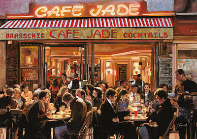 Paris Street Scene Painting - Cafe Jade by Guido Borelli