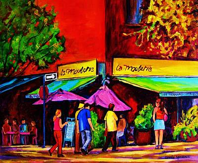 Montreal Neighborhoods Painting - Cafe La Moulerie On Bernard by Carole Spandau