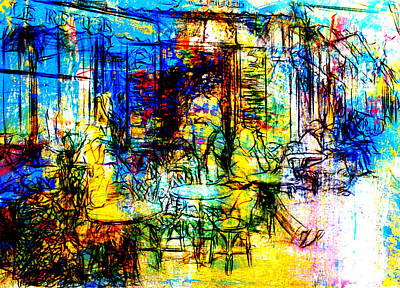Wall Art - Painting - Cafe Le Refuge Parfis Montmartre by Lee Eggstein