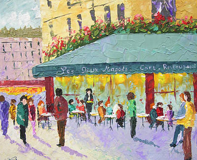 South Of France Painting - Cafe Les Deux Magots Paris France by Frederic Payet