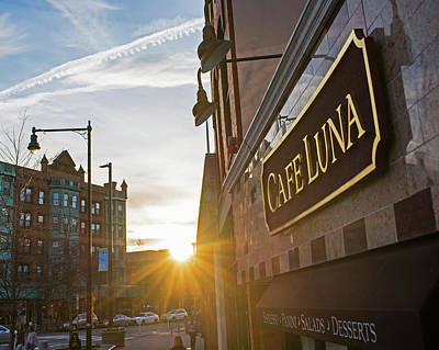 Photograph - Cafe Luna Central Square Cambridge Ma Closeup Sunset by Toby McGuire