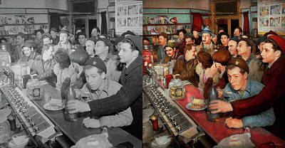 Photograph - Cafe - Midnight Munchies 1943 - Side By Side by Mike Savad