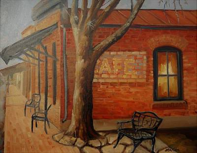 Mike Martin Painting - Cafe by Mike Martin