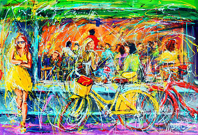 Girl On Bike Painting - Cafe Of Amsterdam - Yellow Girl by Mathias