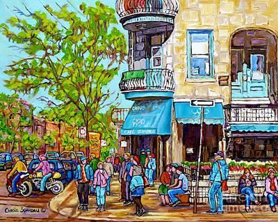 Painting - Cafe Olimpico Plateau Mont Royal Cafe Street Scene Painting Carole Spandau Canadian Artist           by Carole Spandau