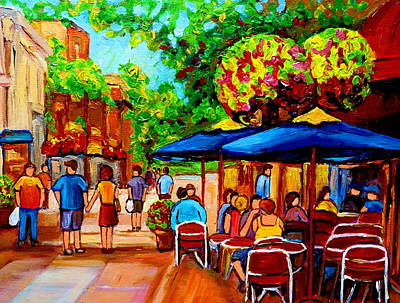 Streetscenes Painting - Cafe On Prince Arthur  In Montreal  by Carole Spandau