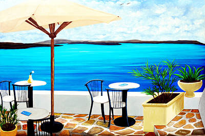 Umbrella Painting - Cafe On The Rim, Santorini - Prints Of Original Oil Painting by Mary Grden Fine Art Oil Painter Baywood Gallery