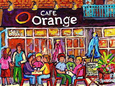 Painting - Cafe Orange Decarie Ndg West End Street Scene Montreal Winter Hockey Art Canadian Painting C Spandau by Carole Spandau