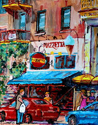Restaurants Painting - Cafe Piazzetta  St Denis by Carole Spandau
