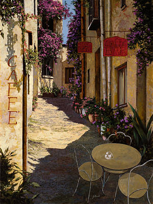 Signed Painting - Cafe Piccolo by Guido Borelli