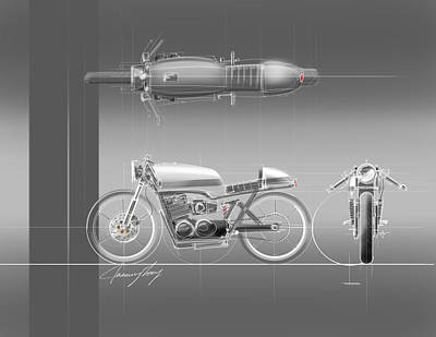 Rod Drawing - Cafe Racer by Jeremy Lacy