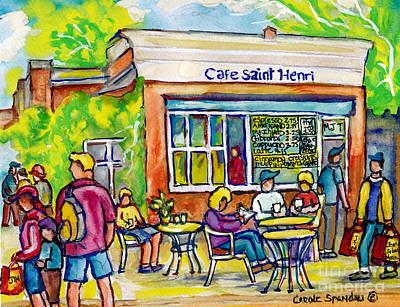 Painting - Cafe Saint Henri Montreal Watercolor Street Scenes Paris Style Cafe Painting Canadian Art C Spandau by Carole Spandau