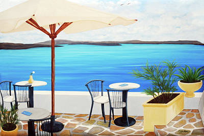 Balconies Painting - Cafe Santorini On The Rim  by Mary Grden Fine Art Oil Painter Baywood Gallery
