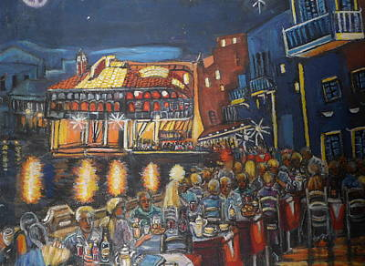 Cafe Scene At Night Art Print