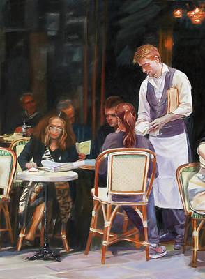 Cafe Scene In Paris Art Print by Dominique Amendola