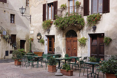 Flagstone Photograph - Cafe Seating In The Piazza Di Spagna by Jeremy Woodhouse