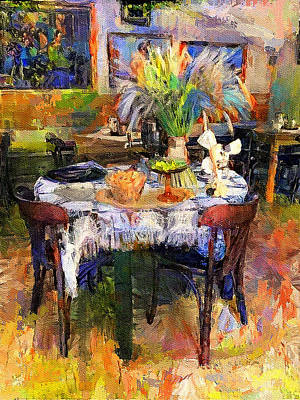 Digital Art - Cafe Setup by Yury Malkov