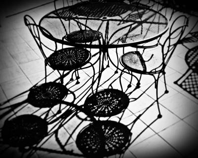 Table Wine Photograph - Cafe Table Shadows by Perry Webster