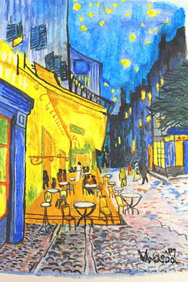 Painting - Cafe Terrace At Night - Van Gogh - France  by Scott D Van Osdol