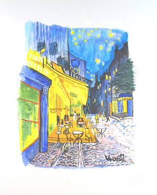 Painting - Cafe Terrace At Night - Van Gogh by Scott D Van Osdol