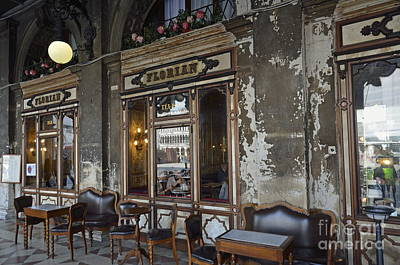 Cafe Terrace On Piazza San Marco Art Print by Sami Sarkis
