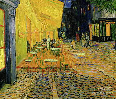 European Street Scene Painting - Cafe Terrace, Place Du Forum, Arles, 1888  Detail by Vincent Van Gogh