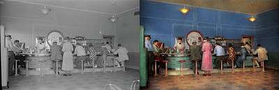 Photograph - Cafe - The Half Way Point 1938 - Side By Side by Mike Savad