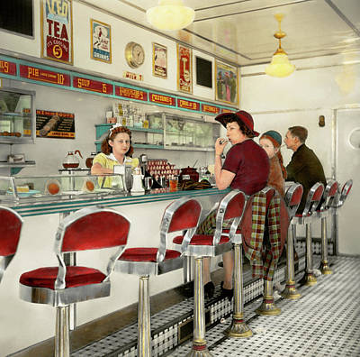 Photograph - Cafe - The Local Hangout 1941 by Mike Savad
