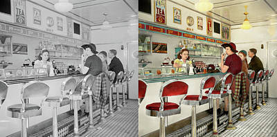 Cafe - The Local Hangout 1941 - Side By Side Print by Mike Savad