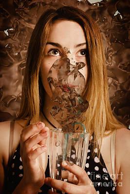 Cafe Tin Sign Girl Drinking Chocolate Milkshake Art Print