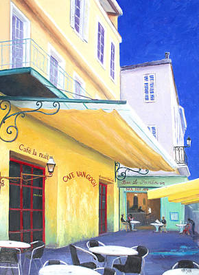 Outdoor Cafe Painting - Cafe Van Gogh by Jan Matson