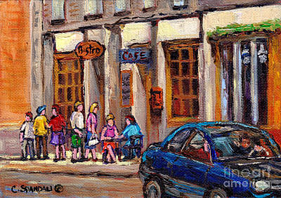 Montreal Restaurants Painting - Outdoor Cafe Painting Vieux Montreal City Scenes Best Original Old Montreal Quebec Art by Carole Spandau