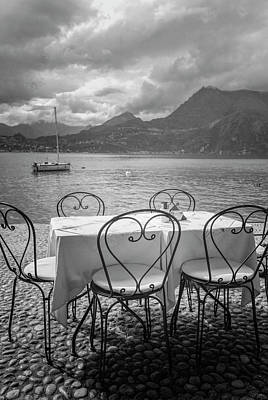 Photograph - Cafe View Of Lake Como Italy Bw by Joan Carroll