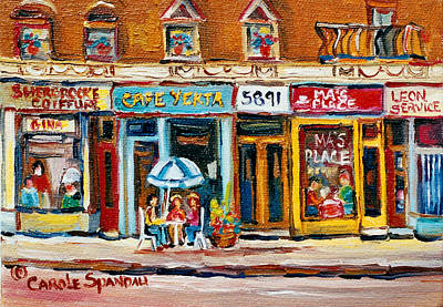 Restaurants Painting - Cafe Yenta And Ma's Place by Carole Spandau