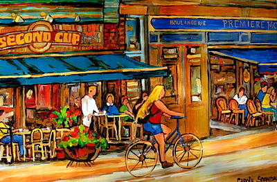 Montreal Buildings Painting - Cafes With Blue Awnings by Carole Spandau