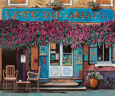 Shop Painting - caffe del Aigare by Guido Borelli