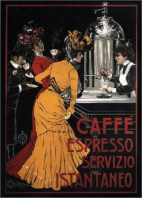 Mixed Media - Caffe Espresso Servizio Istantaneo - Vintage Advertising Poster by Studio Grafiikka